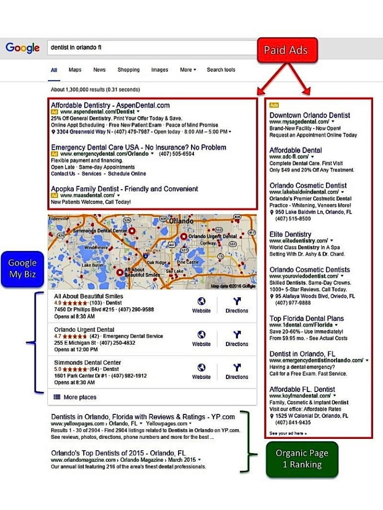 Before Google Removal of Right Side Ads